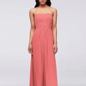 Pink strapless bridesmaid dress